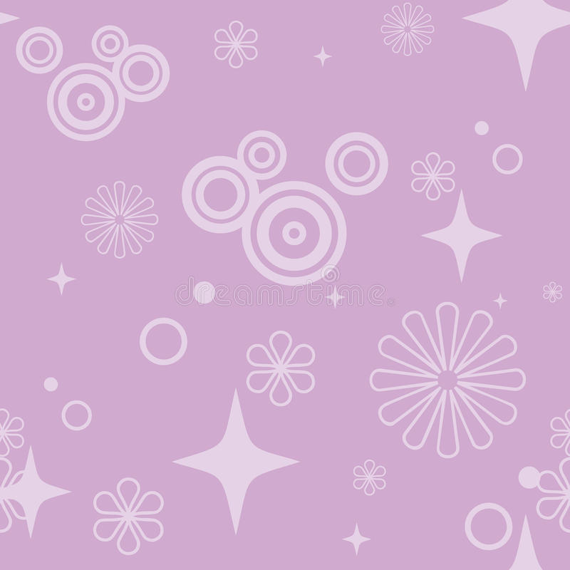 Purple Stars and Flowers Pattern royalty free stock photo
