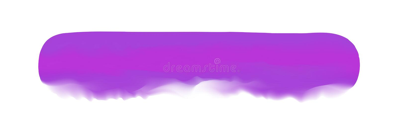 Purple stripe painted in watercolor on clean white background, purple watercolor brush strokes, illustration paint brush. The purple stripe painted in watercolor stock illustration