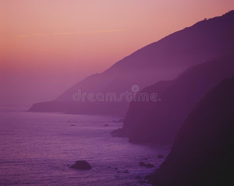 Purple sunset along Pacific Coast Highway. California stock photo