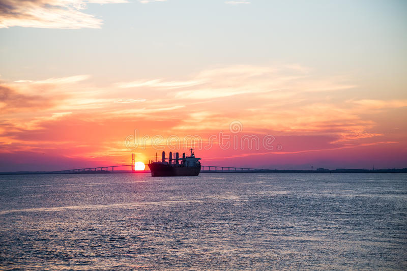 Purple Sunset with Empty Freighter royalty free stock images
