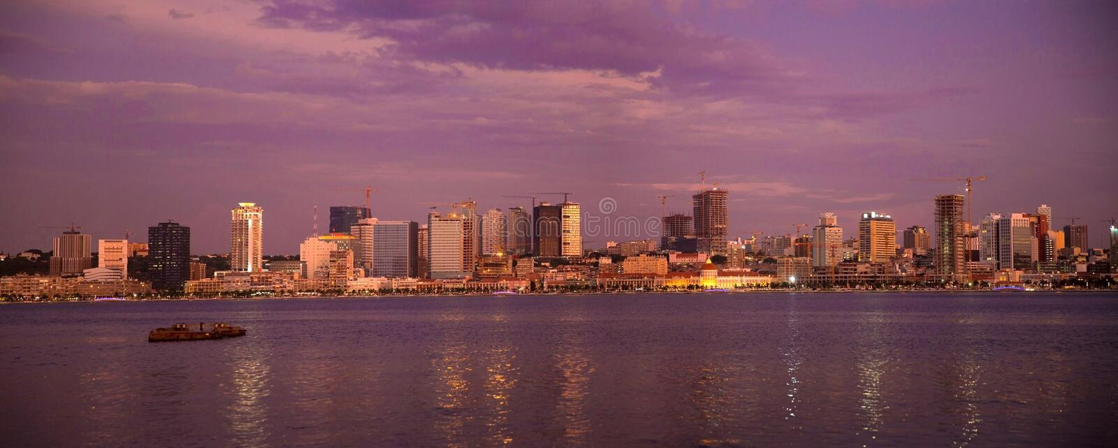 Luanda Bay Skyline Panorama, Purple Sunset, Angola Cityscape, Africa royalty free stock photo
