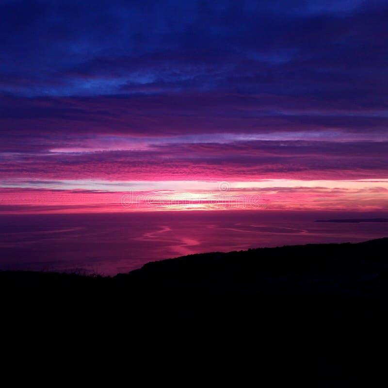 Purple sunset royalty free stock photography