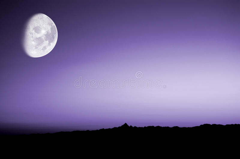 Purple sunset with moon