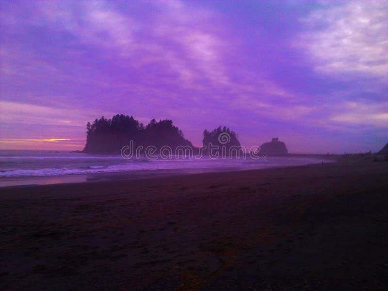 Purple Sunset. The Olympic Peninsula, Washington, USA stock photography