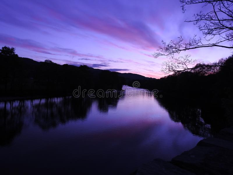 Purple sunset royalty free stock photos