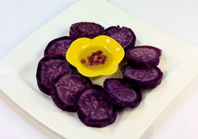 Purple sweet potato. Ready to serve royalty free stock photography