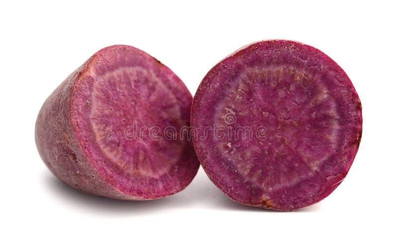 Purple sweet potato. Isolated on white background royalty free stock images