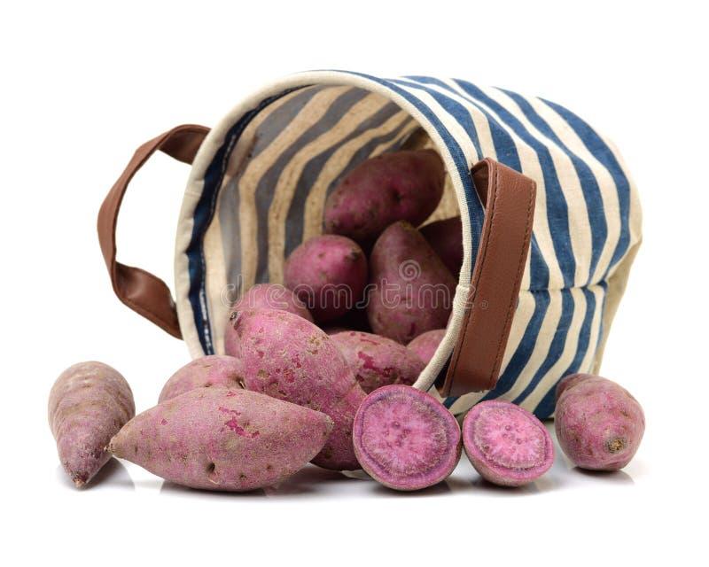 Purple sweet potato. Isolated on white background royalty free stock photo