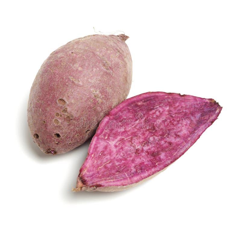 Purple sweet potato. Isolated on white background stock photography