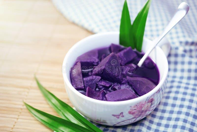 Purple sweet potato in sweet soup royalty free stock image