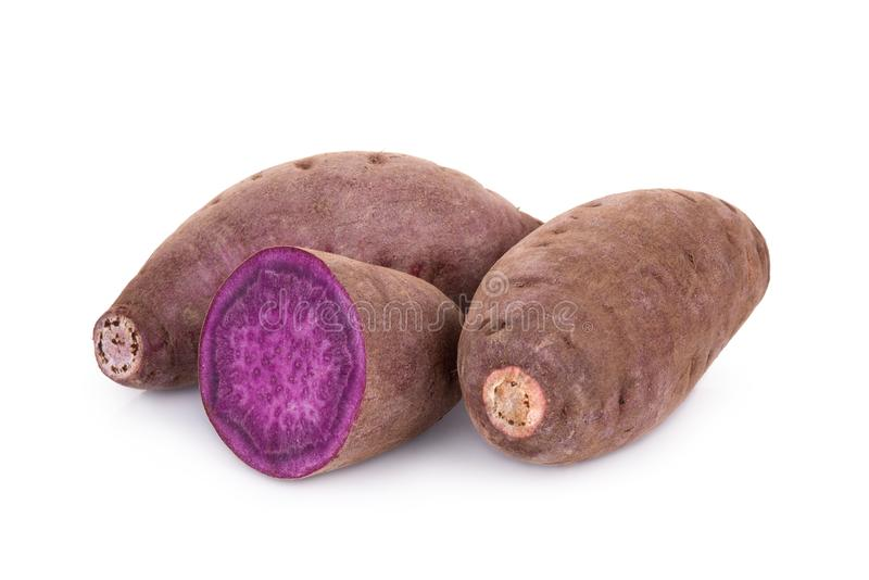 Purple sweet potato or yam isolated on white royalty free stock images