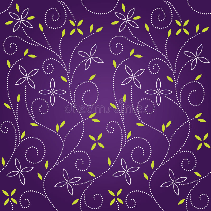 Purple swirl floral seamless pattern stock illustration