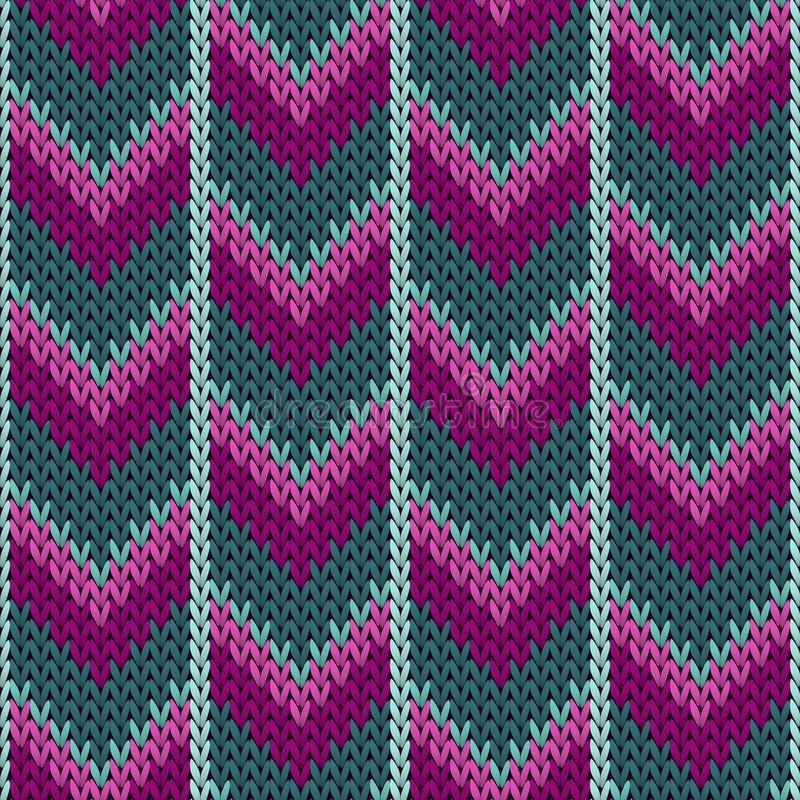 Purple teal winter jumper knitwear fabric print. Norwegian knitted seamless sweater pattern in traditional christmas style. Cool chevron knitted seamless stock illustration
