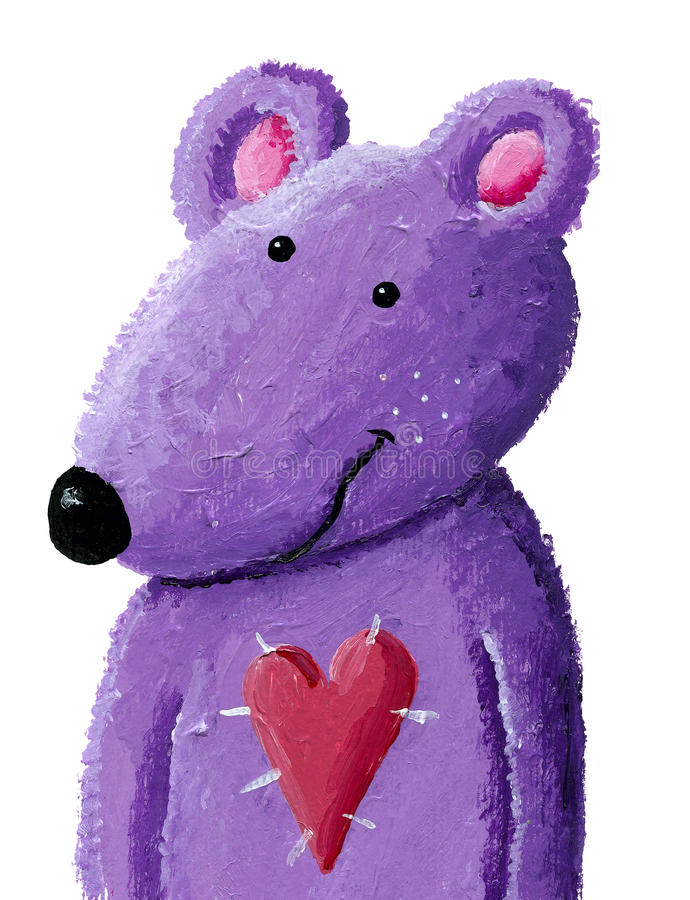 Purple teddy bear. Acrylic illustration of purple teddy bear vector illustration