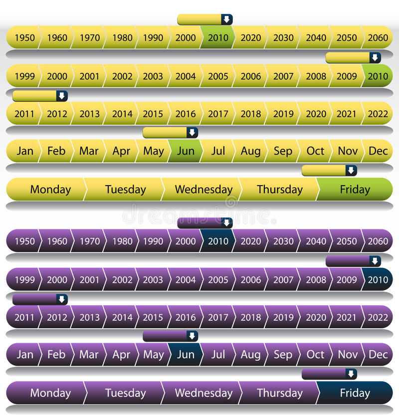 Purple Timeline Chart Set stock illustration