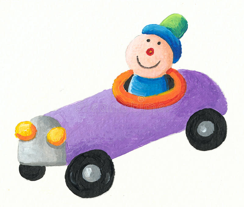 Purple Toy car. Acrylic illustration of purple Toy car royalty free illustration