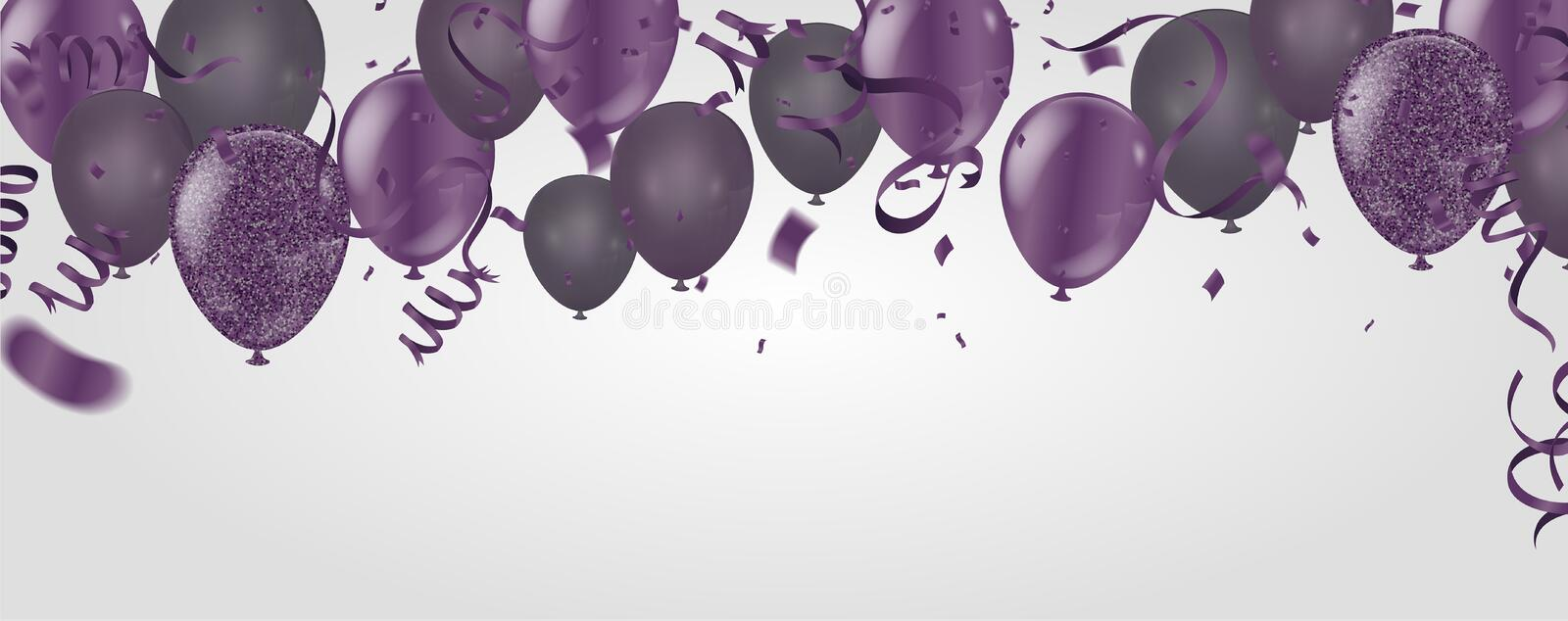 purple transparent with confetti helium balloon isolated in the royalty free illustration