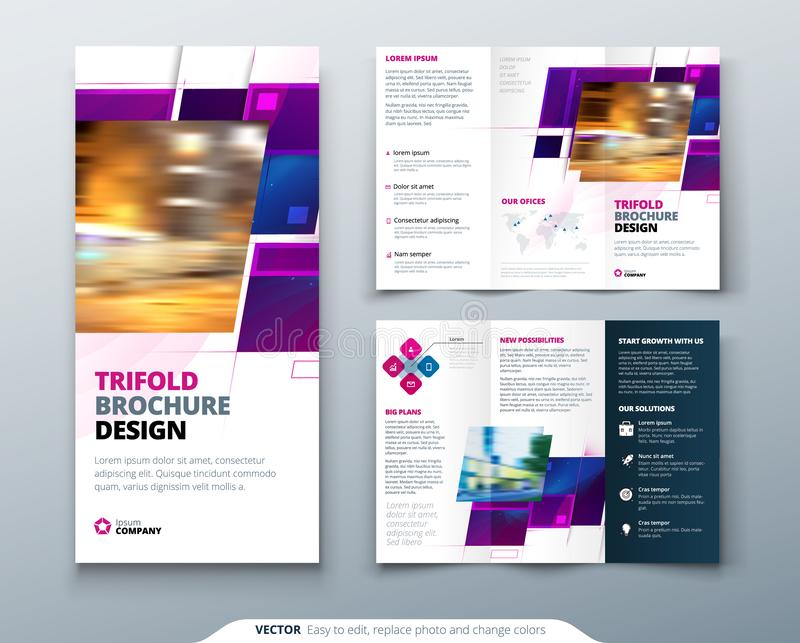 Purple Tri fold brochure design with square shapes, corporate business template for tri fold flyer. Creative concept. Folded flyer or brochure vector illustration