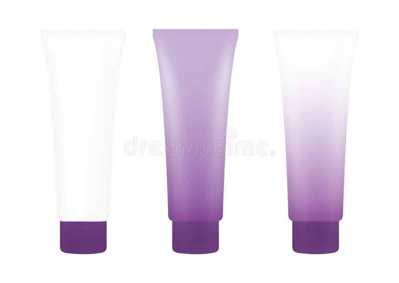 Tube Purple Cream Foam Bottle on white background isolated, cosmetics, cream tube treatment tube white royalty free illustration
