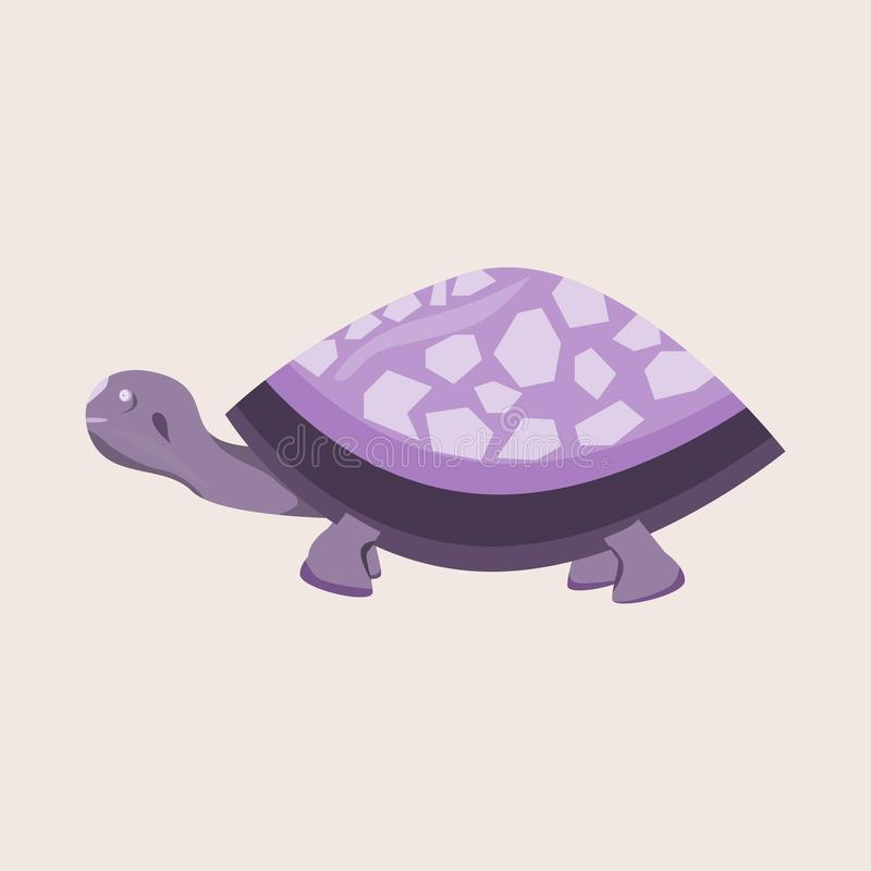 A purple turtle illustration of wild and cute animal royalty free stock images
