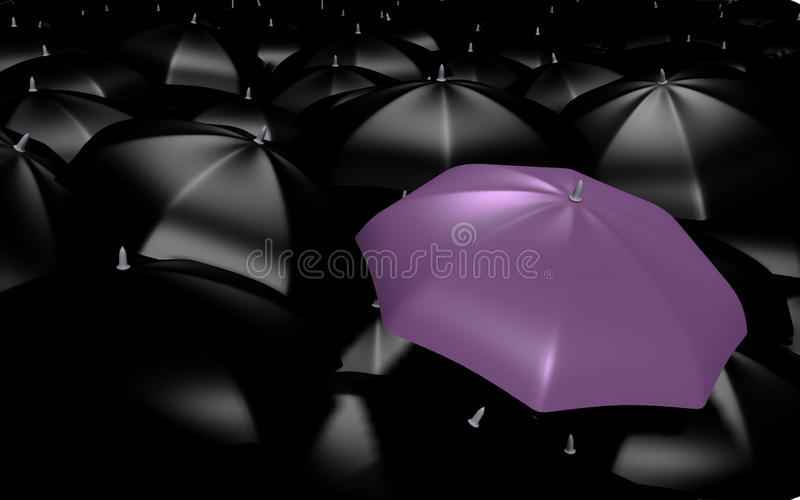 A Purple Umbrella Among The Rest - 3d Image Royalty Free Stock Photography
