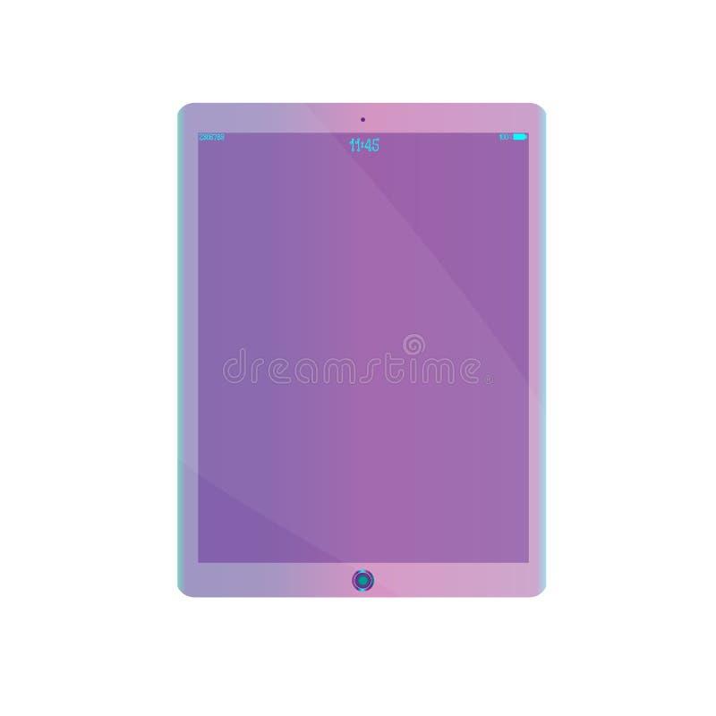 Purple, van ultraviolette de realistische die computer tabletpc zonder achtergrond screensaver op witte achtergrond wordt geïsole vector illustratie