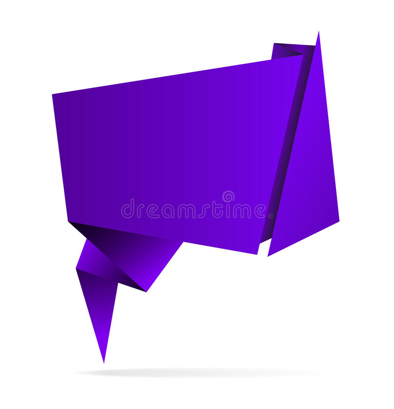 Purple vector abstract origami speech bubble, eps10