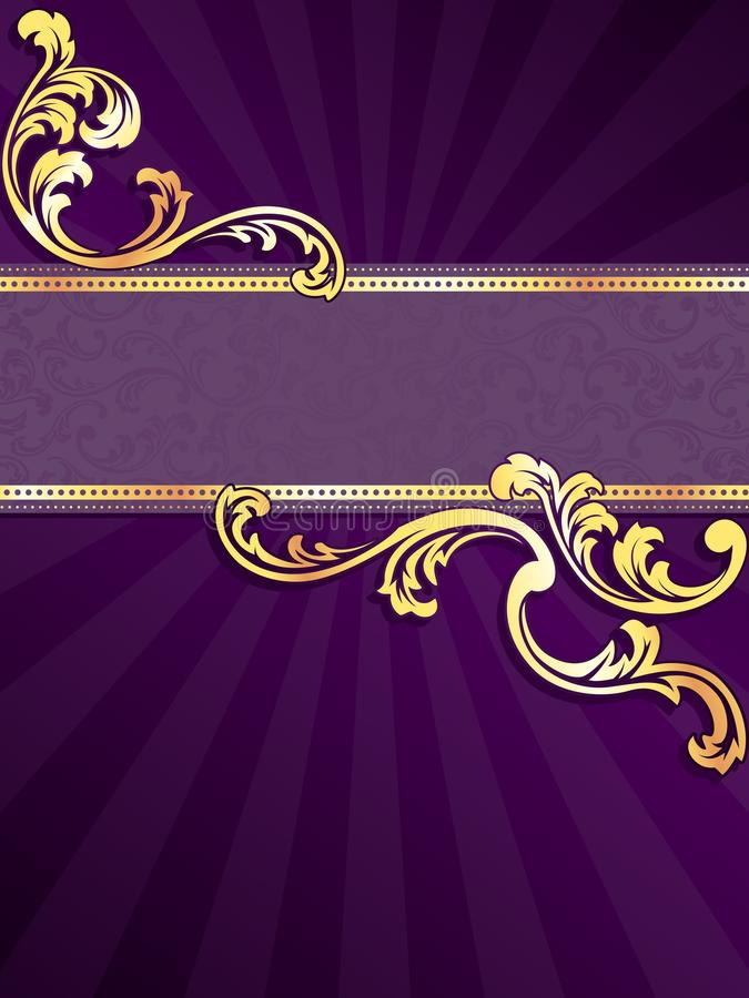 Purple vertical banner with gold filigree stock illustration