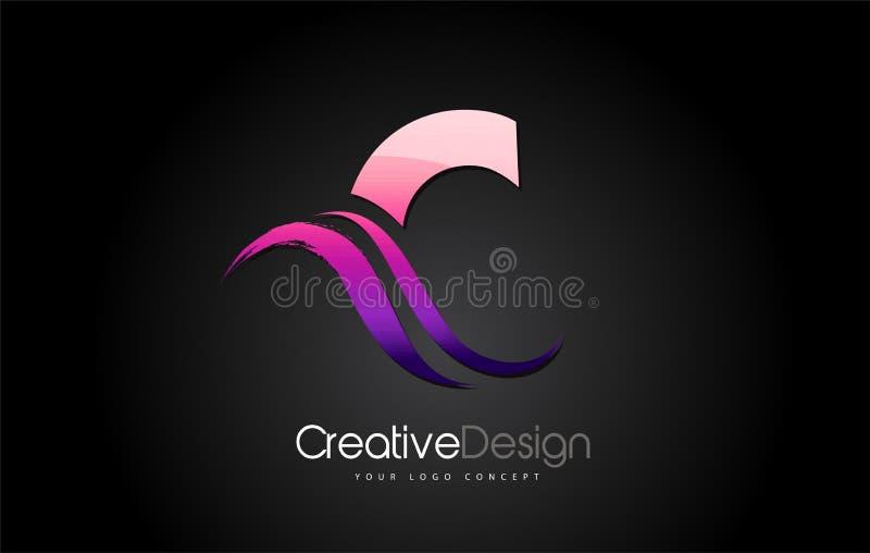 Purple Violet C Letter Design Brush Paint Stroke on Black Bakground stock illustration