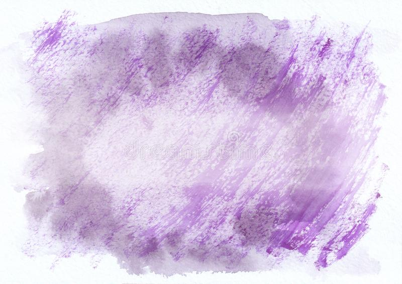 Purple and violet cloudy horizontal watercolor gradient hand drawn background. Middle part is lighter than other s stock illustration