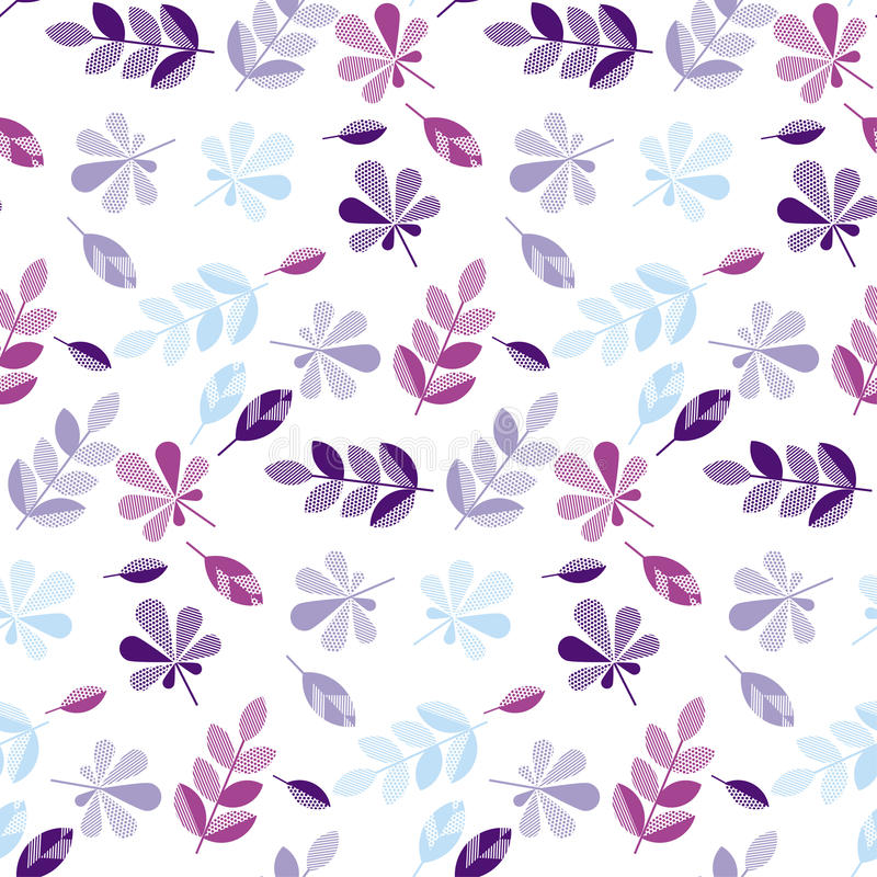 Purple and violet color decorative fall leaves. Seamless pattern for surface design, fabric, wrapping paper, background. abstract geometry style vector autumn vector illustration