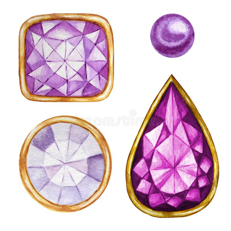 Purple violet Crystal in a gold frame and jewelry beads. Hand drawn watercolor diamond. Isolated luxury object on white royalty free illustration