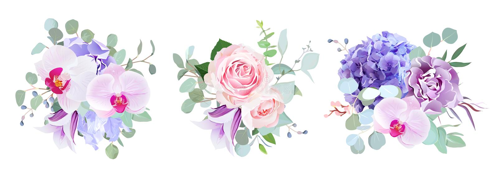 Purple and violet flowers vector design bouquets. Rose, orchid, hydrangea, carnation, bell flower, eucalyptus greenery. Floral wedding borders composition. All vector illustration