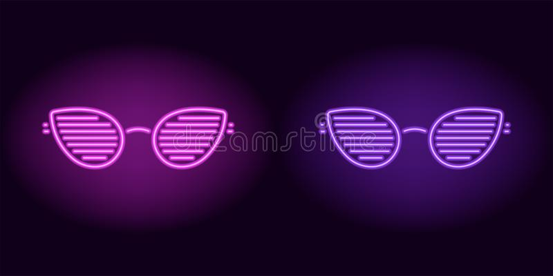 Purple and violet neon club glasses. Vector silhouette of neon glasses with lenses in teardrop shape and rim consisting of outlines, with backlight on the dark stock illustration