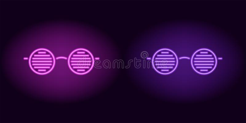Purple and violet neon glasses. Vector silhouette of neon club glasses with round lenses and rim consisting of outlines, with backlight on the dark background stock illustration