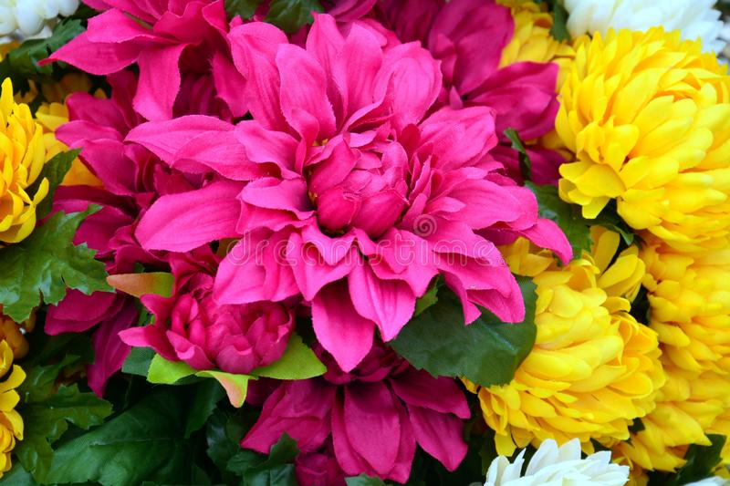 Purple and yellow flowers in vase, romantic floral background royalty free stock image