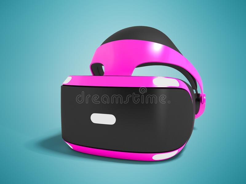 Purple virtual reality glasses isolated on the right 3D render o. N blue background with shadow stock illustration