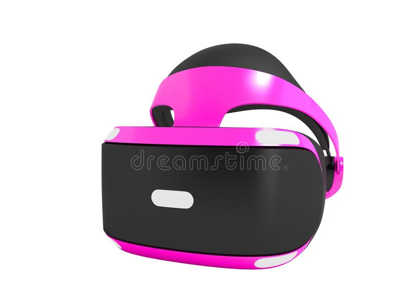 Purple virtual reality glasses isolated on the right 3D render o. N white background no shadow stock illustration