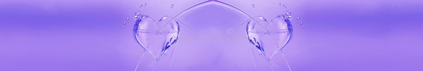 Purple Water Hearts stock images