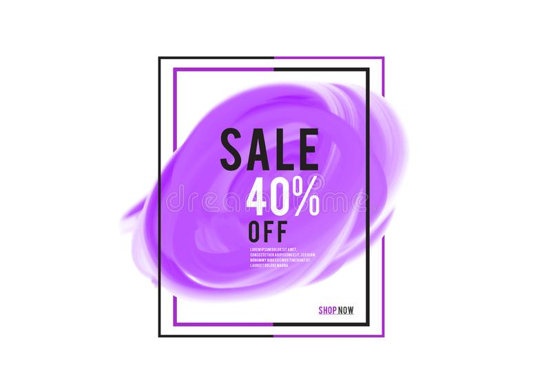 Purple watercolor circle paint with frame, Grunge circle, icon design, Hand drawn design elements, vector brush strokes. Sale banner stock illustration