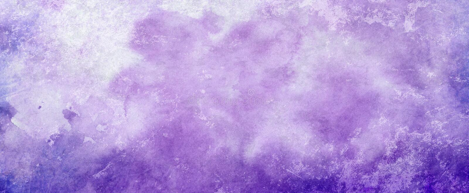 Purple watercolor paint splash or blotch background with fringe bleed wash and bloom design, blobs of paint and old vintage waterc stock illustration