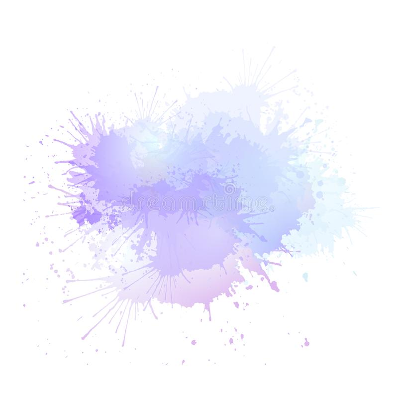 Purple watercolor splashes. The object is separate from the background. Vector element for banners, cards and your creativity royalty free illustration