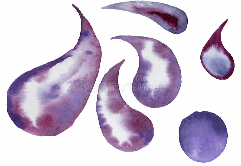 Purple watercolor painted vector stains set stock image