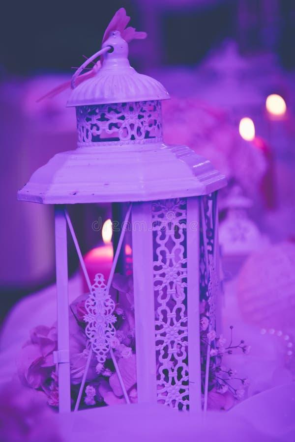 Purple wedding lantern decoration. stock photography