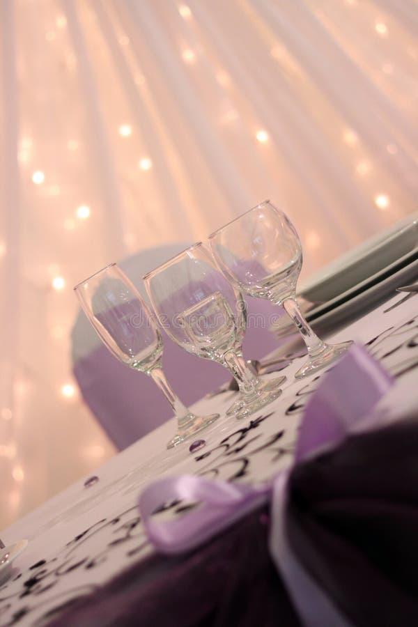 Purple wedding table decor royalty free stock photo