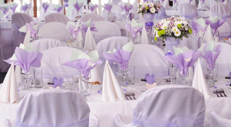 Purple wedding tables royalty free stock image