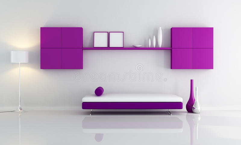 Purple and white living room vector illustration