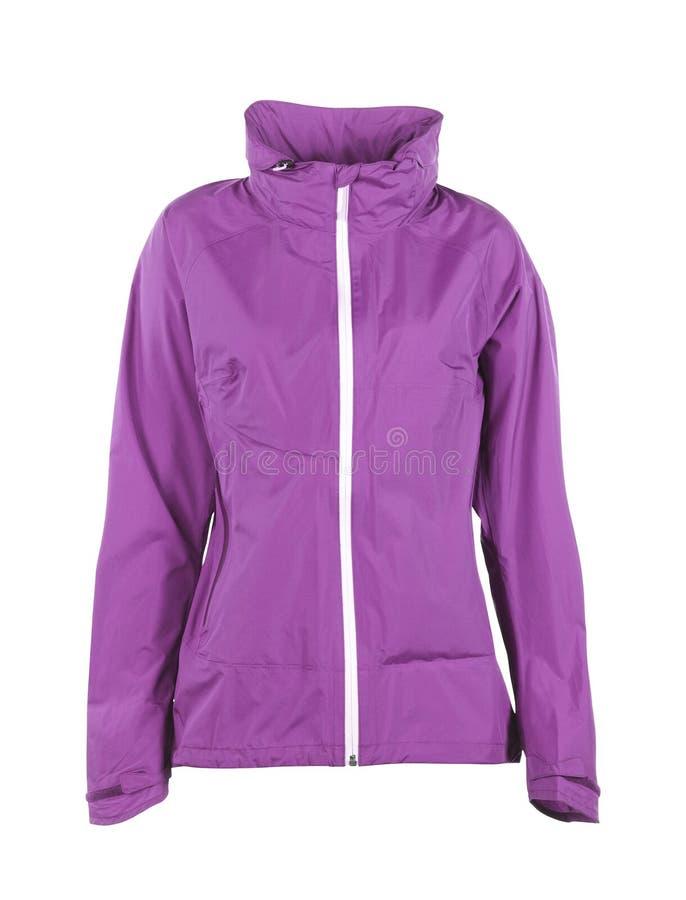Purple winter jacket, isolated on white. Background royalty free stock photos