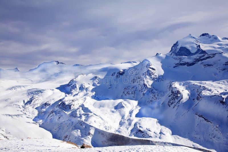 Purple winter landscape. In Switzerland stock photo
