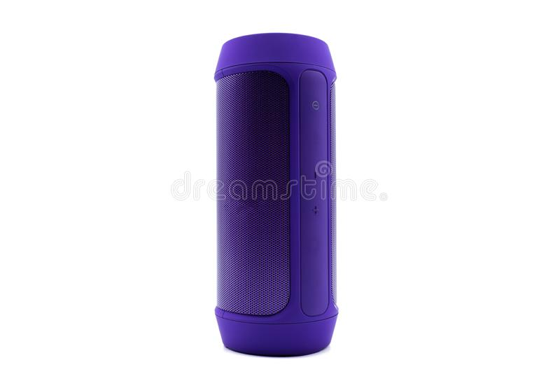 Purple Wireless or Bluetooth portable speaker for connecting to other device in white background or isolated. Purple Wireless or Bluetooth portable speaker for stock image
